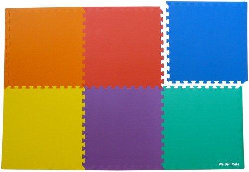 We Sell Mats 48 Sq. Ft. (Set of 12 + Borders) Anti-Fatige Interlocking EVA Foam Flooring-Set of six Multi-Color Tiles-Each 2'x2'x3/8