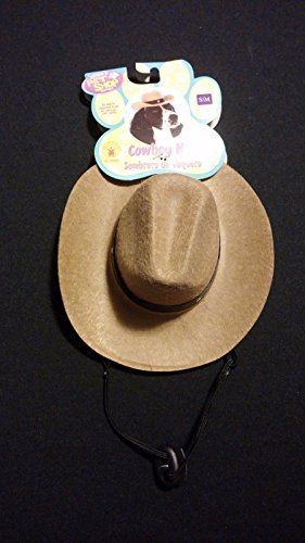 Cowboy Doggy Pet Costumes (Pet Dog Halloween Costume Size S/M Cowboy Hat Dress Up Small Doggie Play)