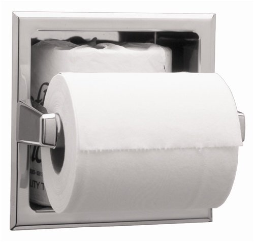 Bobrick 6637 Stainless Steel Recessed Toilet Tissue Dispenser with Extra Roll Storage Space, Satin Finish, 6-1/4'' Width x 6-1/4'' Height