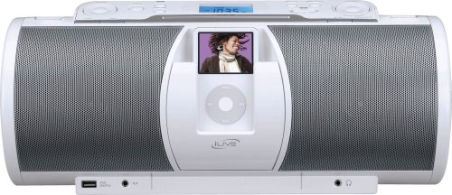 Ipod Docking Station With Cd Player - iLive IBCD3817DT Portable Boombox with iPod Docking Station and CD Player/AM/FM Radio with Premium Stereo Sound and Remote Control in White