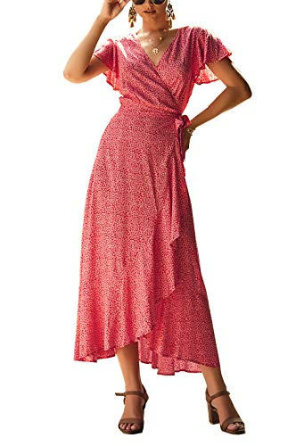 (PRETTYGARDEN Women's Floral Printed Wrap V-Neck Short Sleeves Ruffle Hem Elegant Maxi Dress with Belt )