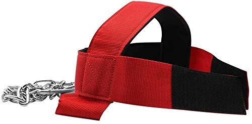 Neck Harness for Neck Fitness Exercise Extra-Heavy D-Rings and Steel Chain, Comfort Fit Neoprene, Excellent Saddle Stitching, Stronger Neck & Traps Adjustable (Red-Black, Standard)