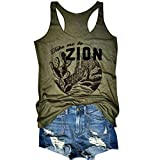 Jahurto Take Me to Zion Letters Caccus Print Racerback Tank Top Women Sleeveless Vest (Color : Green, Size : M)