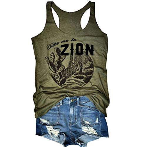 Jahurto Take Me to Zion Letters Caccus Print Racerback Tank Top Women Sleeveless Vest (Color : Green, Size : M) by Jahurto