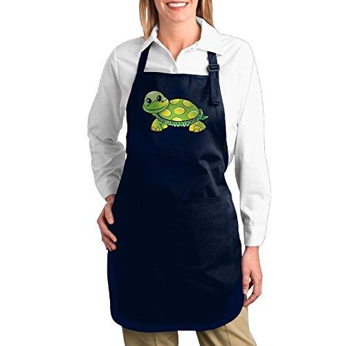 Dogquxio Cartoon Tortoise Kitchen Helper Professional Bib Apron With 2 Pockets For Women Men Adults Navy