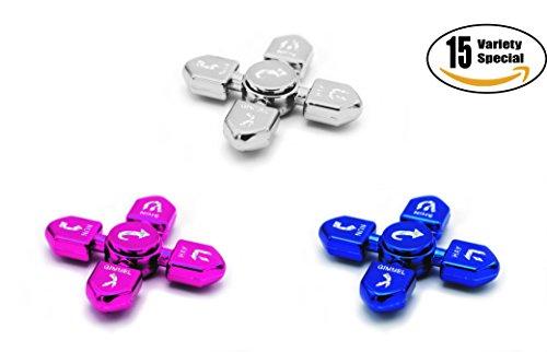 Hanukkah Dreidel Fidget Spinner Multi-Pack! Metallic Silver, Metallic Blue, Metallic Fuchsia/Pink Chanukah Toys! (x5 Sets of 3 Fidget Spinners, Total of 15) - The Dreidel Company by The Dreidel Company