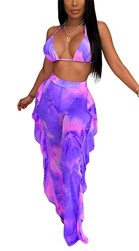 Two Piece Sheer - Womens Sexy Sheer Mesh Two Piece Outfits Bra Crop Tops High Waist Ruffle Flare Long Pants
