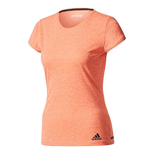 adidas Women's Tennis Climachill Tee, Chill Sun Glow, Large Adidas Club Line