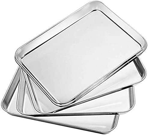 Easy Clean /& Mirror Finished for Less Stick Oven /& Dishwasher Safe(40 x 30cm /& 31x 25.4cm) Healthy /& Non Toxic HaWare Stainless Steel Baking Sheet Cookies Bakeware Pan Baking Tray Set of 2