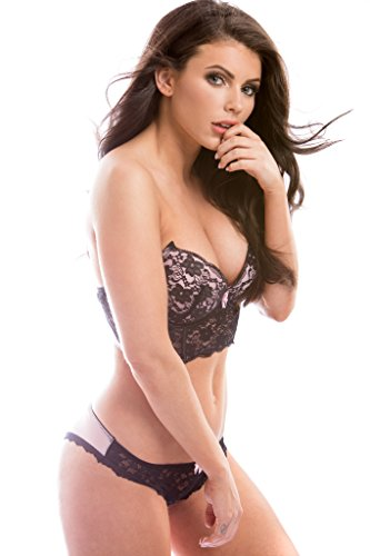 WOMENS PINK BRALETTE BRA WITH MATCHING BIKINI SET CURVACEOUS LINGERIE SET,BABY PINK AND BLACK,X-Large / 38D