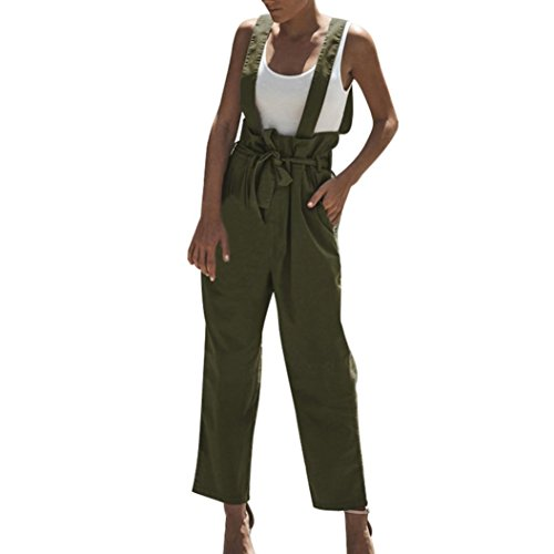 Metallic Linen Pants - vermers Women Pants, High Waisted Dungarees Loose Cotton Pockets Belt Zip Rompers Trousers(XL, Green)