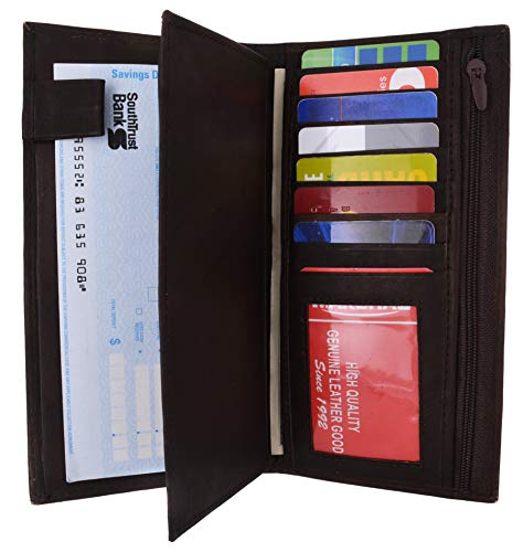 Genuine Leather Checkbook Cover Wallet Organizer with Credit Card Holder (Brown)