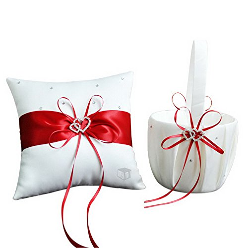 MAYMII 2 Heart Rhinestones Ivory Satin Wedding Flower Girl Basket and Ring Pillow Set, Ivory (Red) 2 Ring Wedding Set
