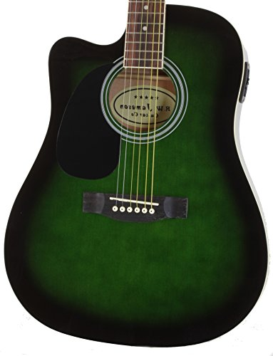Green RW Jameson Guitar Left Handed Full Size Thinline Acoustic Electric Guitar with Gig Bag Case & Picks