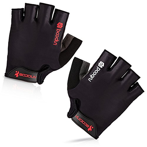 (BOODUN Cycling Gloves with Shock-absorbing Foam Pad Breathable Half Finger Bicycle Riding Gloves Bike Gloves B-001, Simple Black, Large)