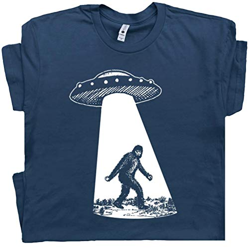 M - Bigfoot UFO Abduction T Shirt Funny Sasquatch Aliens Tee Cryptozoology Area 51 Flying Saucer X Files Graphic -