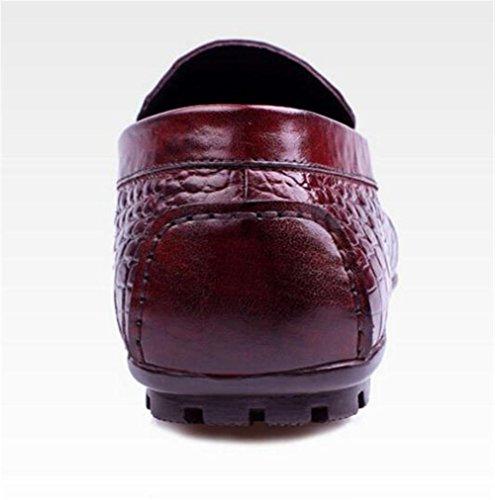 modello pelle coccodrillo a marrone 44 38 Smart nero on da slip in Scarpe uomo taglia Casual marrone mocassini vera qI8CR0