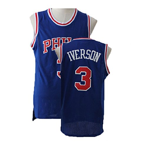 Men's Allen Retro Jerseys Iverson Athletics Jerseys Philadelphia Basketball #3 Jersey Blue (S-XXL) (M)