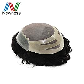 Newness Hair NPU Durable Men Toupee Brazilian Remy Human Hair Wig For Males HairPiece Can Be Cut (4#)