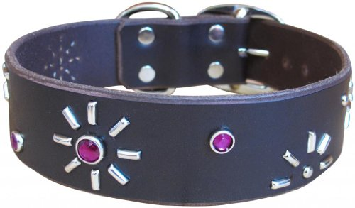 "Paco Collars - ""Agnes"" - Handmade Leather Large Dog Collar - 1.5""Wide - Silver - Brown 24""-26"""