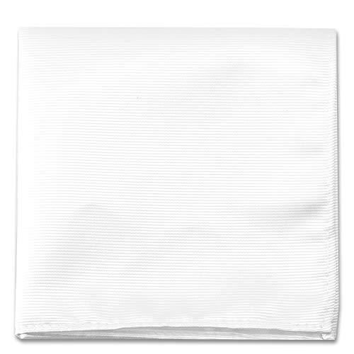 Tuxedo Pocket Squares - White Pocket Squares For Men - Mens Woven Pocket Square Tuxedo Wedding Solid Color Formal Handkerchiefs
