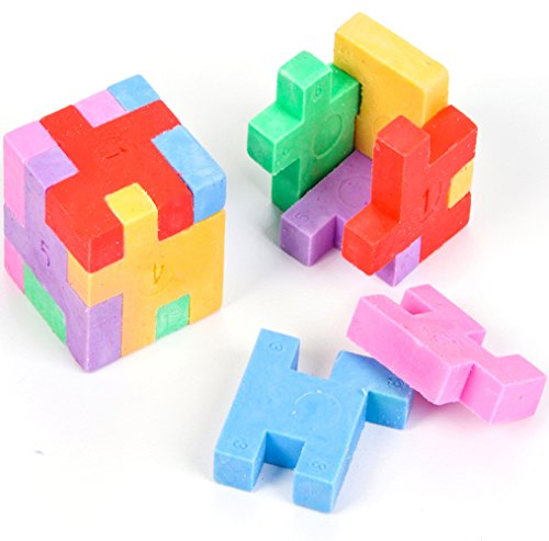 12 Novelty Rubber Mini Geometric Puzzle Erasers - Kids Will Love These Colorful Cube Designs - High-Quality Materials Won't Smudge or Tear Paper - Great for Homework Rewards and Party Favors