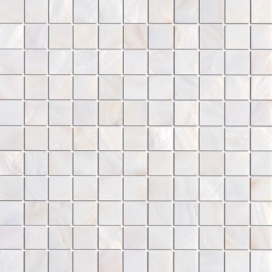 """1 Tile Box - SGT Natural White Pearl Shell 1"""" x 1"""" Square Wall & Floor Glass Tile Meshed on 12"""