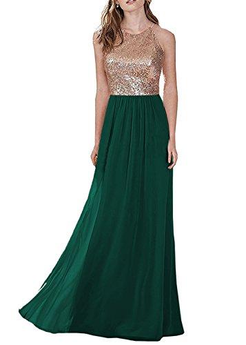 - Ever-Beauty Womens Long Halter Sequin Chiffon Bridesmaid Dresses Sleeveless Aline Formal Party Dress Emerald Green Size 12
