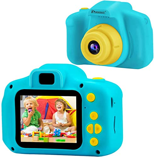 PROGRACE Mini Kids Camera Children Digital Cameras for Boys Girls Birthday Toy Gifts Presents Gadgets 4-12 Year Old 1080P Video Camera Toddler Recorder 8G Memory Card Included-Blue