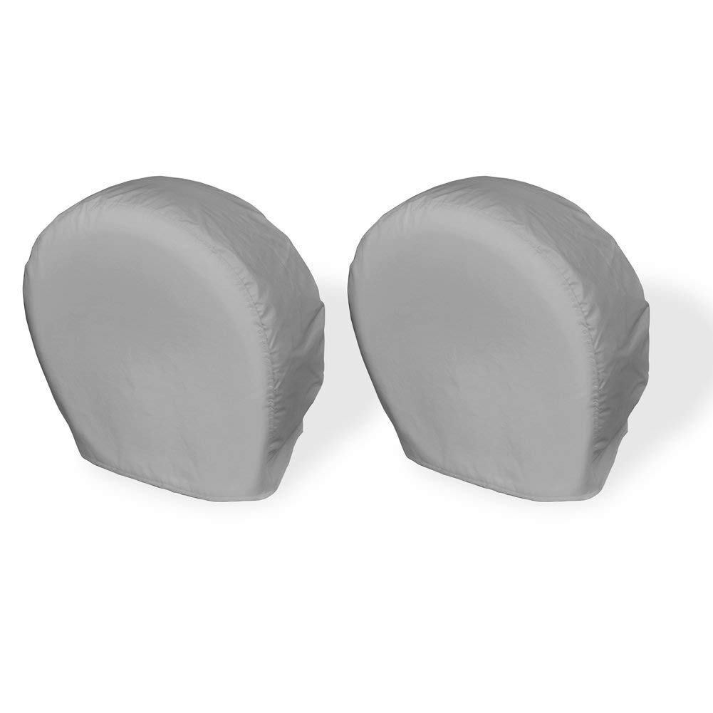 Explore Land Tire Covers 2 Pack - Tough Vinyl Tire Wheel Protector for Truck, SUV, Trailer, Camper, RV - Universal Fits Tire Diameters 26-28.75 inches, Charcoal