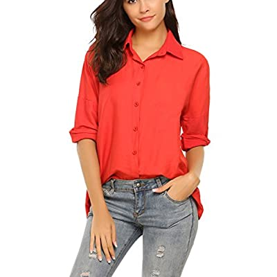 Nice Zeagoo women's 3/4 sleeve button down collared blouse shirt
