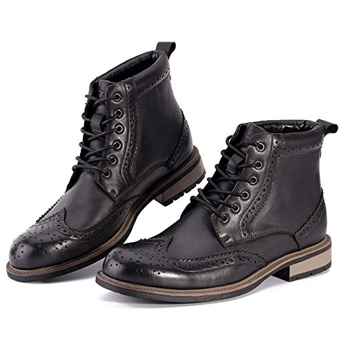 Punta High Marrone Casual Rotonda Stivali Anti Pelle Martin Sicurezza WKNBEU Scarpe Lace Pattuglia Army Slip Top Boot Outdoor Desert Inverno B Nero Uomo Autunno Uomo Lavoro Vera Brogue Up 4TSYB8zq