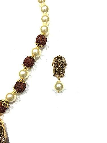 Intérieur Mogul Femme Cristaux autrichiens indien Ganesha Exotic India Rudraksha Temple Pendentif Boucles d'oreilles Bijoux, Idée Cadeau 29,2cm Blanc