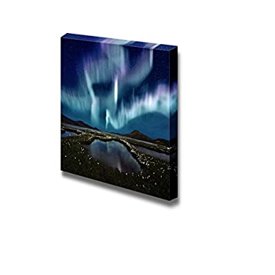 Beautiful Scenery Landscape The Northern Light Over The Marsh Landscape with Wildflowers in Landmannarlaugar Iceland - Canvas Art Wall Art - 12