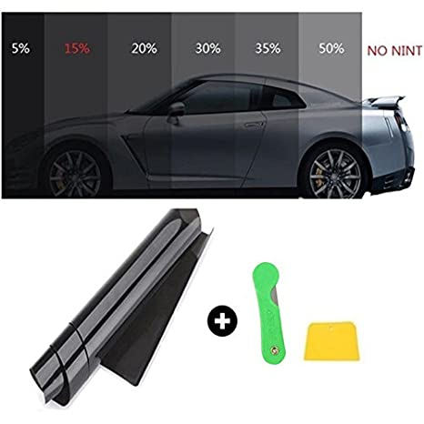 Films pour vitre Gaosheng Film de Protection Solaire Autocollant pour rétroviseur de Voiture Noir 50 cm x 3 m