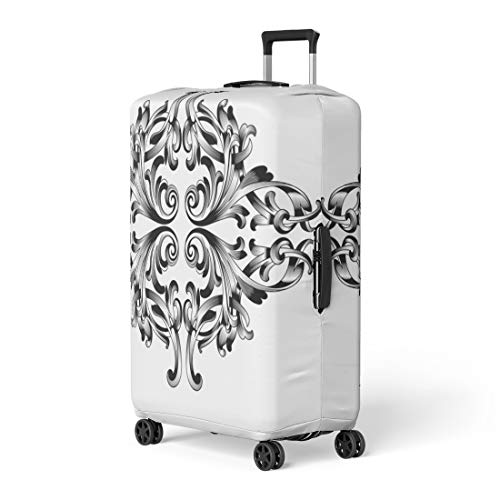 - Pinbeam Luggage Cover Damask Vintage Baroque Corner Retro Pattern Antique Acanthus Travel Suitcase Cover Protector Baggage Case Fits 22-24 inches