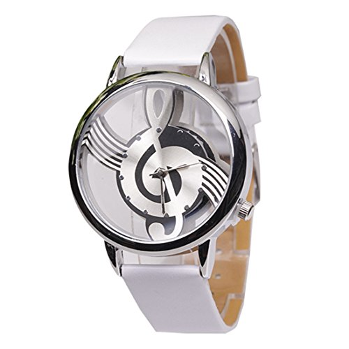 Hollow Musical Note Style Women Quartz Wristwatch(White)