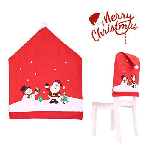 Sugoiti Santa Hat Chair Covers 4 PCS Christmas Chair Covers Decor, Santa Red Hat Snowflake Chair Xmas Cap, Kitchen Dining Chair Slipcovers Sets for Christmas Holiday Festive Decorations