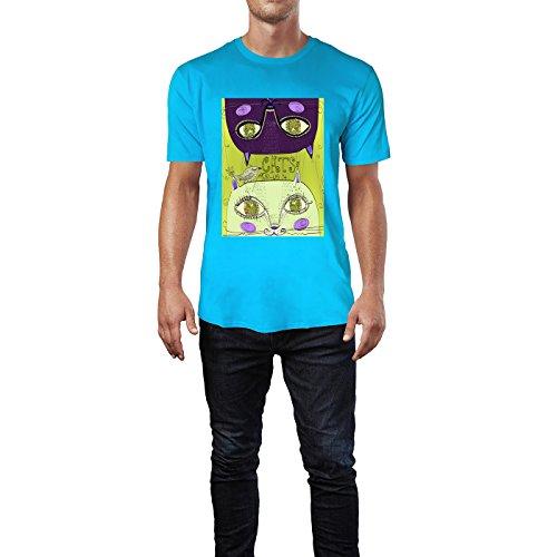 SINUS ART® Zwei süße handgezeichnete Katzen Herren T-Shirts in Karibik blau Cooles Fun Shirt mit tollen Aufdruck
