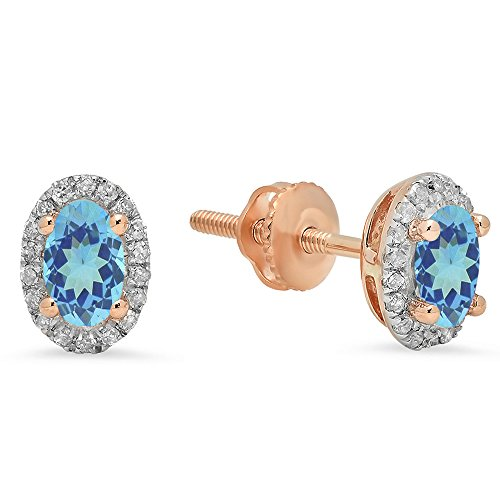 10K Rose Gold Oval Cut Blue Topaz & Round White Diamond Ladies Halo Stud Earrings