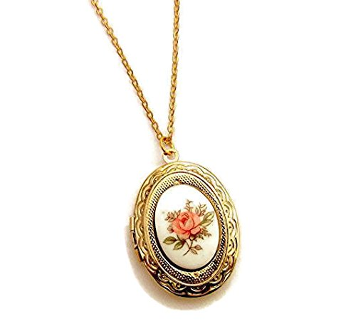 Porcelain Cameo Pendant Necklace (Gold plated Locket 18K with flowers cameo in white and pink antique style)