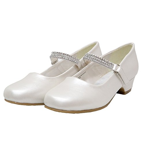 Ychen Kids Girls Low Heels Wedding Bridesmaid Shoes Dress Shoes With Rhinestones (4 M US Ivory) ()