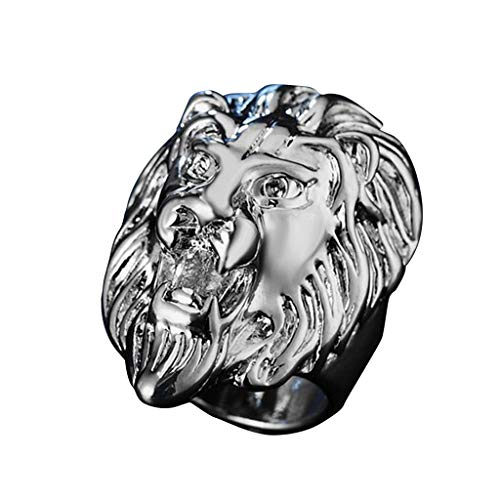 Sunyastor Men's Vintage Stainless Steel Gold Lion Head Rings Heavy Metal Rock Punk Style Gothic Biker Rings