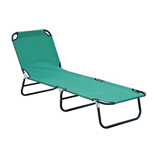 Patio Foldable Daybed Solid Outdoor Chaise Relaxer Elegant Garden Durable Frame Sun Lounger Camping Cot Classic Pool Beach Recliner Couch Sunbed Patio Furniture Green
