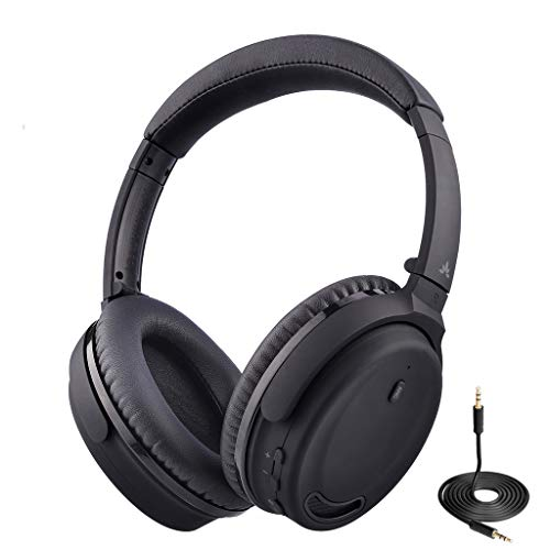 Avantree Active Noise Cancelling Bluetooth 4.1 Headphones with Mic, Wireless Wired Super Comfortable Foldable Stereo ANC Over Ear Headset, Low Latency for TV PC Phone - ANC032 [24M Warranty]