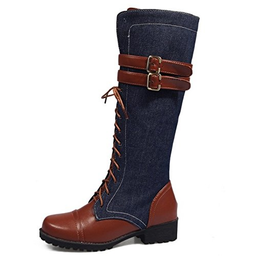 TAOFFEN Boots Zipper Blue Boots Blue Women's TAOFFEN TAOFFEN Women's Zipper Pggwx5qRB