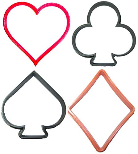 FRENCH SUIT SYMBOLS PLAYING CARDS DECK SPADE HEART DIAMOND CLUB CASINO GAME POKER BLACKJACK GIN RUMMY SOLITAIRE SET OF 4 SPECIAL OCCASION COOKIE CUTTER BAKING TOOL 3D PRINTED MADE IN - Clubs Diamonds Spades Poker Hearts