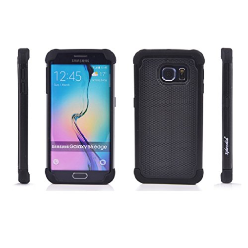 Splendid(TM) Galaxy S6 Edge Case, Galaxy S6 Edge Armor Case [Drop Protection] [Shock-Absorption] [Impact Resistant] Black Hybrid Triple Layer Stylish Design Ultra Slim Ballistic Tough Armor Defender Rugged Protective Case Cover for Samsung Galaxy S6 Edge (Triple Black S6 Edge)