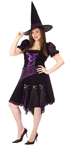 Adult Plus Costumes Witch Punk Purple (Funworld Womens Sexy Purple Punk Witch Theme Party Fancy Halloween Costume, Plus)