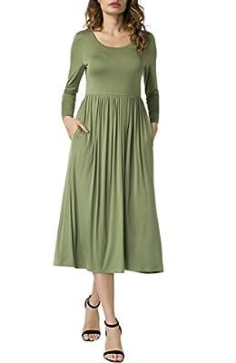 POSESHE Women's A-line Swing Midi Dress Long Sleeve Long Dresses